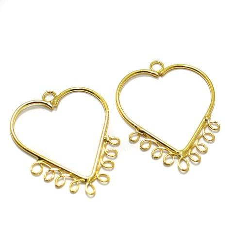 2 Pairs Brass Earrings Components Heart Golden 1.50 Inch