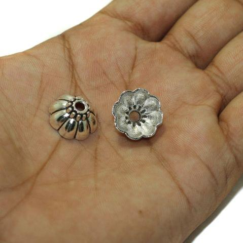 20 Pcs German Silver Beads Caps 11x8mm