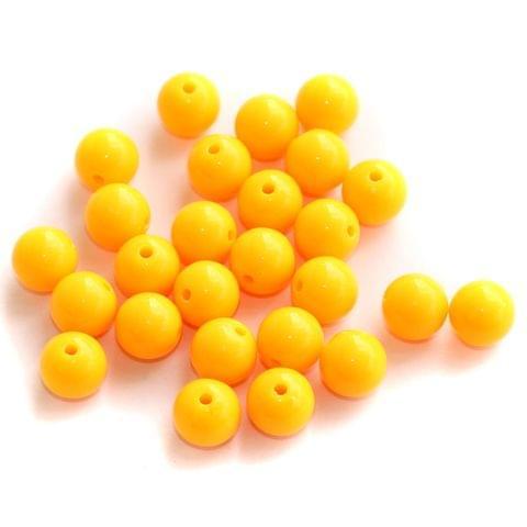 100 Acrylic Round Beads Orange 10mm
