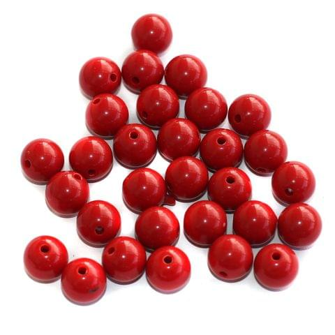 100 Acrylic Round Beads Red 10mm