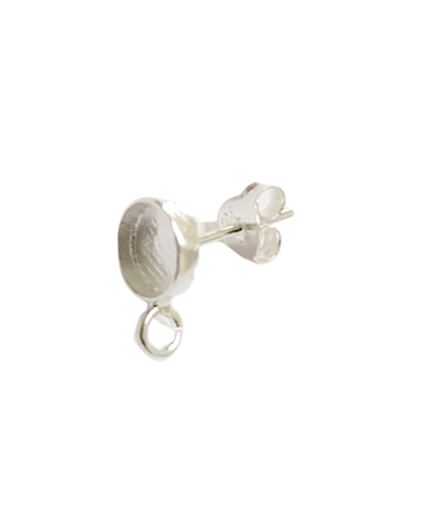 Sterling Silver Setting Stud 4mm with OPEN Loop