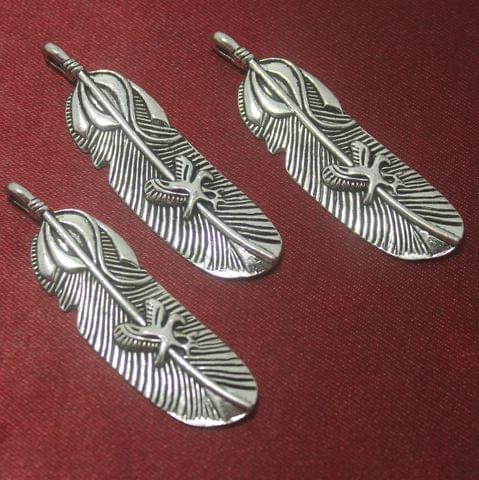 4 Pcs German Silver Leaf Pendants 48x15mm