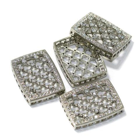 2 Pcs CZ Stone Spacer Beads Rose Silver