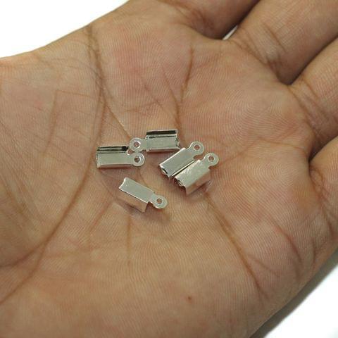100 Pcs Crimp Cord End Silver 4mm