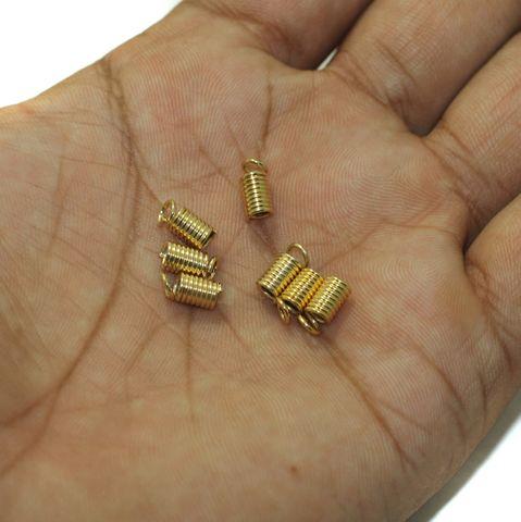 100 Spring Tips Cord Ends Golden 15mm