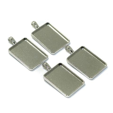 10 Pcs Bezel Setting Pendant Base Silver 1.25Inch