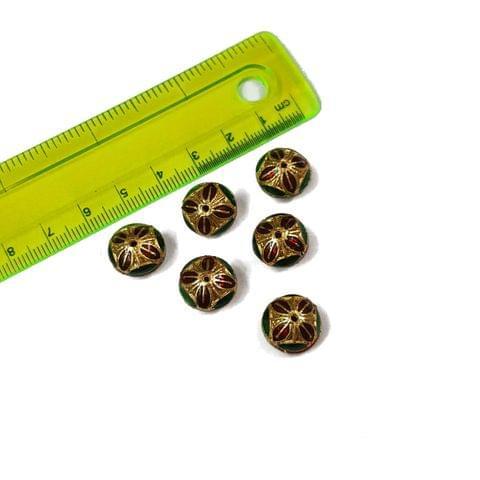 13mm, 6 pcs, Red Green Meenakari Beads