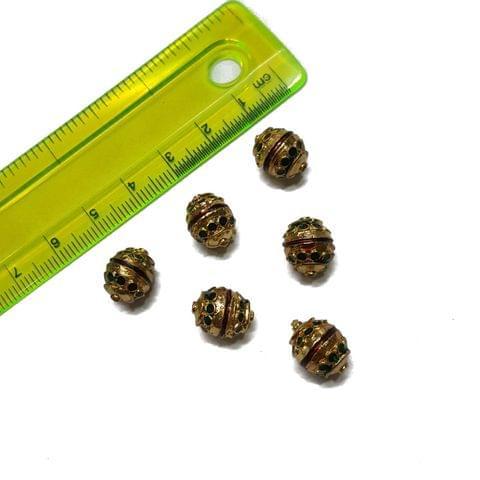 9x12mm, 6 pcs, Golden Green Meenakari Beads