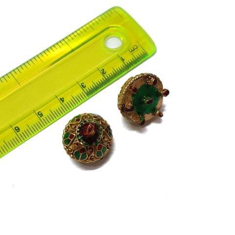 18mm, 2 pcs, Green Golden Meenakari Jhumki