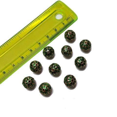 10mm, 10 pcs, Green Meenakari Beads