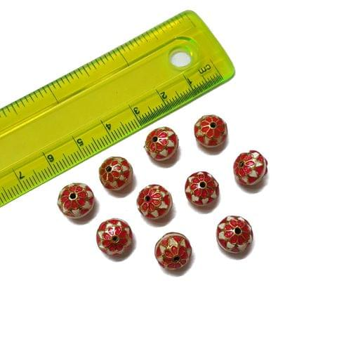 10mm, 10 pcs, Pink Meenakari Beads