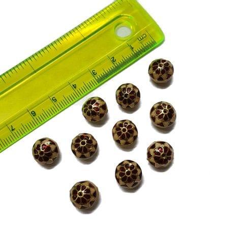 10mm, 10 pcs, Red Peach Meenakari Beads