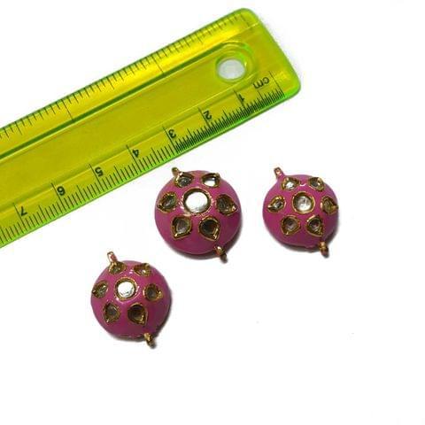 25x23x23mm, 3 pcs set, Pink Meenakari Set