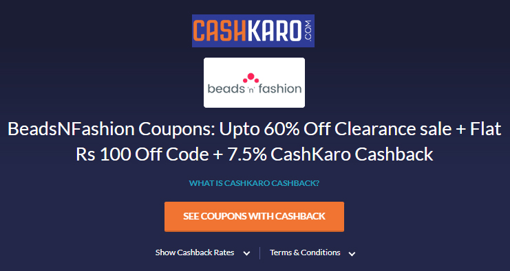 Get our latest discount coupon on Cashkaro