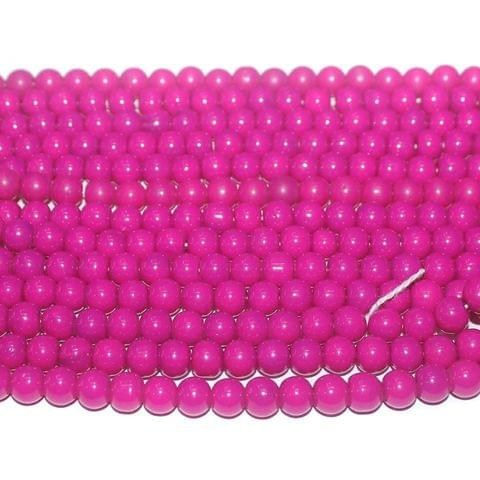 10 String. Glass Beads Round Hot Pink. Size 8mm.
