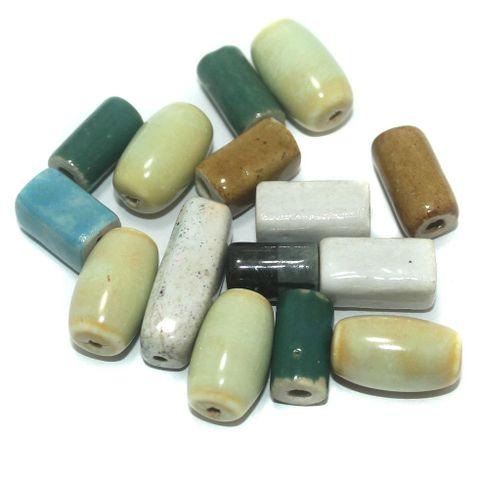 Ceramic Beads Multicolor Assorted 50 Pcs 20x9mm