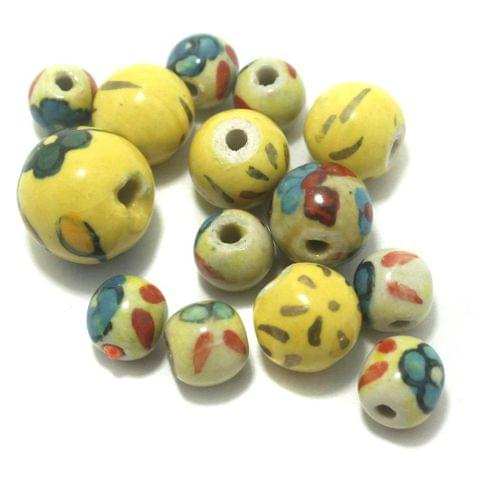 Ceramic Beads Yellow Round 40 Pcs 7-12mm