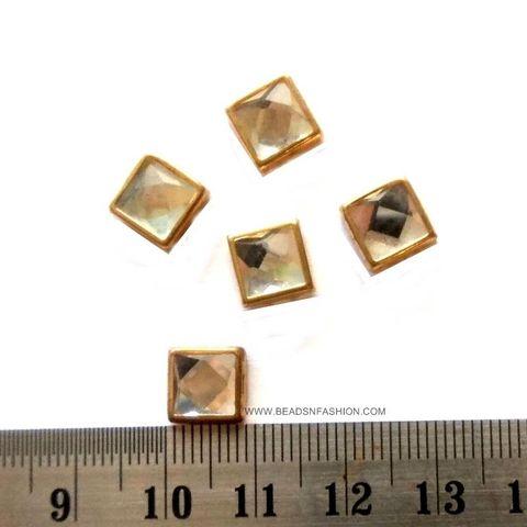 8 mm Square Kundan stones Golden Prongs for Kundan jewellery making rangoli crafts