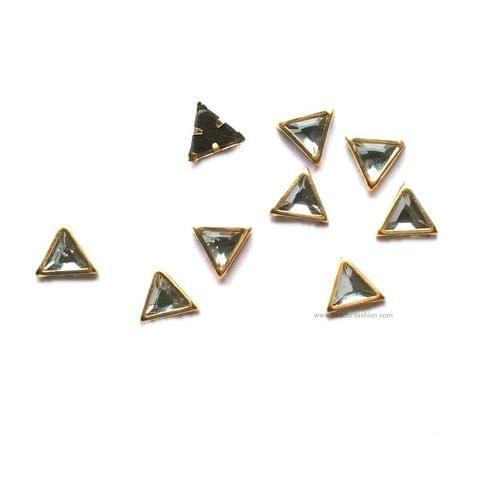 6 MM Triangular Kundan stones Golden Prongs for Kundan jewellery making rangoli, crafts, silk thread jewellery making