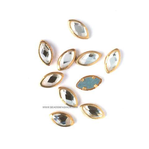 8 mm Marquise Kundan eye shaped kundan stones Golden Prongs for Kundan jewellery making rangoli crafts