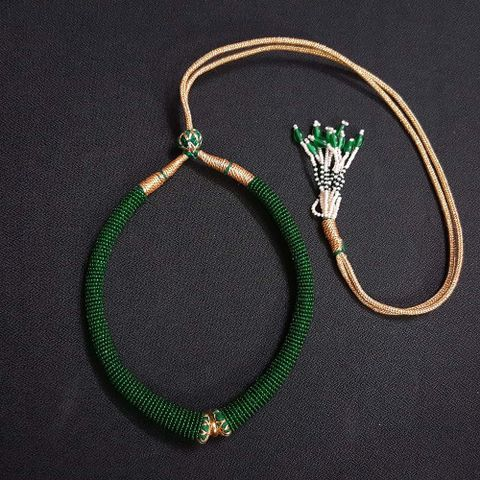 6 Pieces, Green Color Hasli Necklace Dories.
