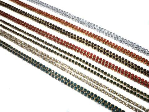 Stone Chain Trans Combo For Jewellery Making & Crafts, 7 Colors (1 Mtr each)