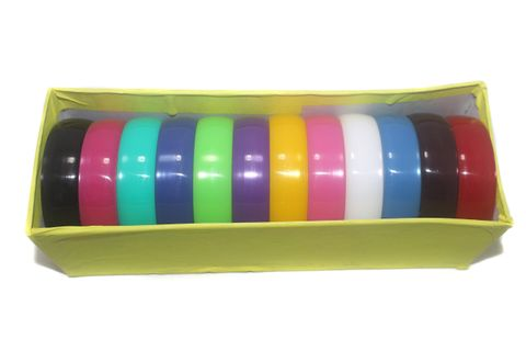 Beadsnfashion Acrylic Colourful Broad Bangles Kada For Silk Thread Jewellery Making, Full Box 12 Pcs, Size2.6