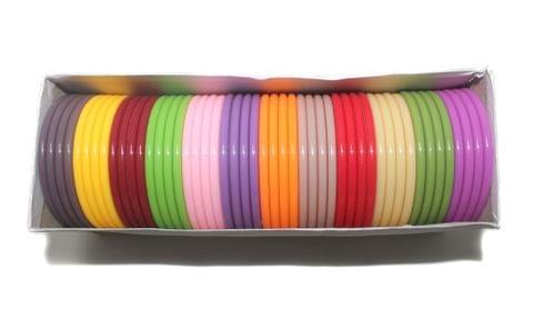 Beadsnfashion Acrylic Colouful Slim Bangles For Silk Thread Jewellery Making, Full Box 48 Pcs, Size 2.8