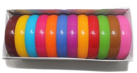Beadsnfashion Acrylic Colourful Bangles Kada For Silk Thread Jewellery Making, Full Box 12 Pcs, Size2.8