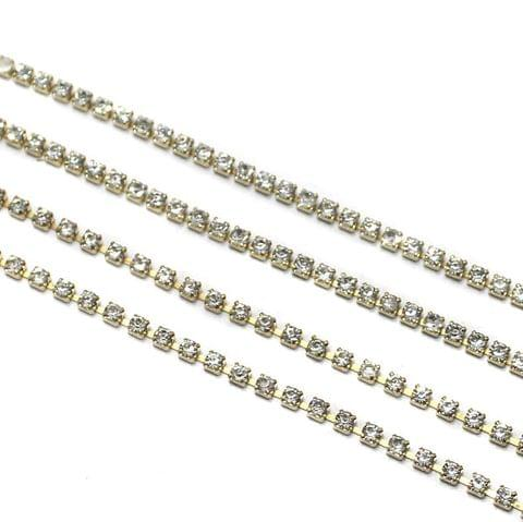 Jewellery Making Golden Stone Chain Combo (3,2) 2 Mtr Each Size