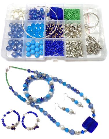 Jewellery Making Glass Beads DIY Kit With Findings1