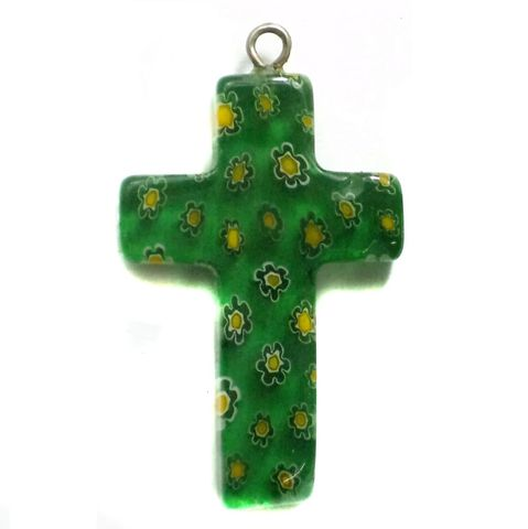 Millefiori Glass Cross Pendant Green 30x20mm