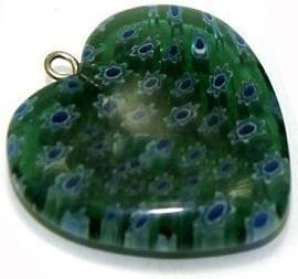 Milifiori Dark Green Heart Pendant 25mm