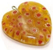 Milifiori Yellow Heart Pendant 25mm