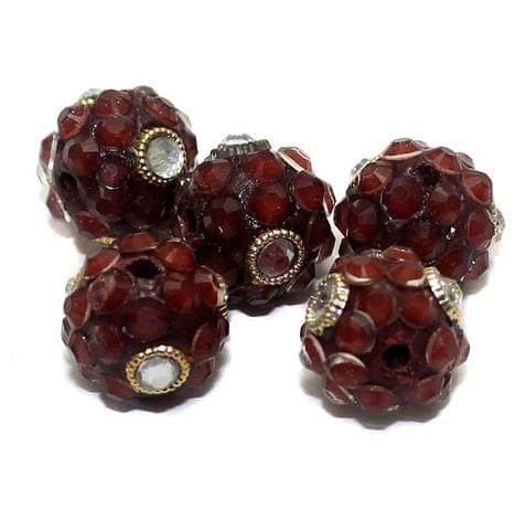5 Glass Takkar Work Round Beads Burgundy 15