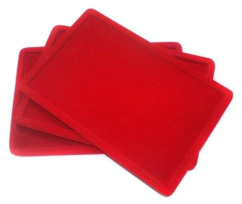 Beading jewellery velvet display Tray red, pack of 3 pcs, size: 12x8 Inch