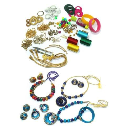 Silk Thread Jewellery Bangles, Necklace, Earring & Jhumka Making DIY Kit With All Decoration Materials and Findings