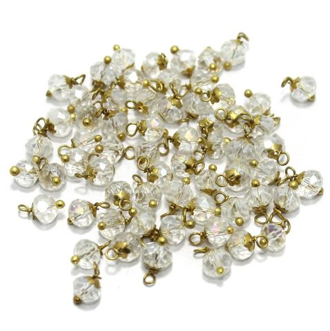 Faceted Loreal Beads Trans White 200 Pcs 4mm