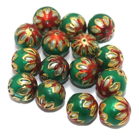 Meenakari Round Beads 12mm Green
