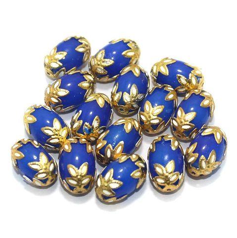 Meenakari Oval Beads 15x10mm Blue