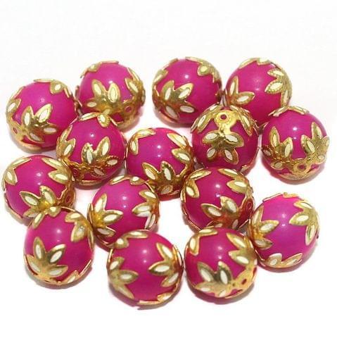 Meenakari Round Beads 12mm Magenta