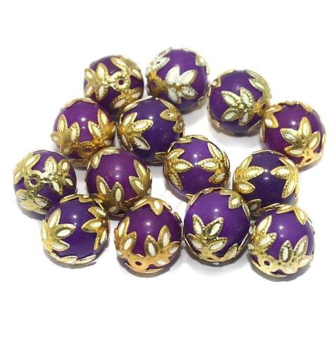 Meenakari Round Beads 12mm Purple