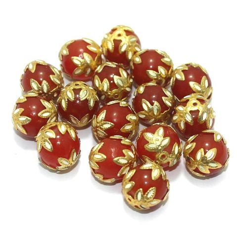 Meenakari Round Beads 12mm Orange