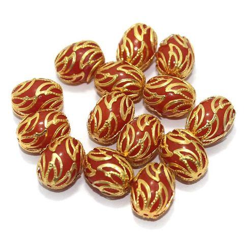 Meenakari Oval Beads 17x13mm Orange
