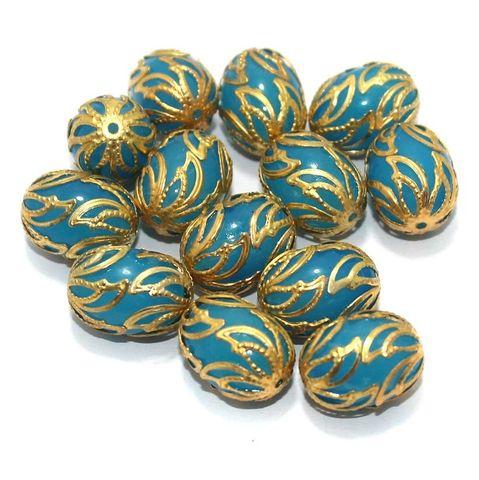 Meenakari Oval Beads 17x13mm Turquoise