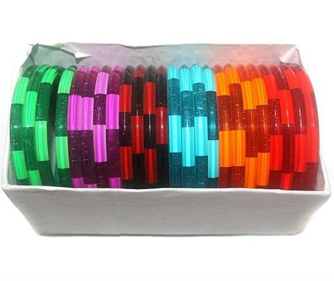 Beadsnfashion Acrylic Multi Colourful Bangles For Girls/Women, Full Box 24 Pcs