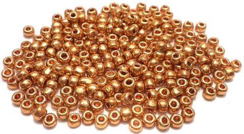 Glass Seed Beads Metallic Rose Golden (100 Gm), Size 8/0 (3 )