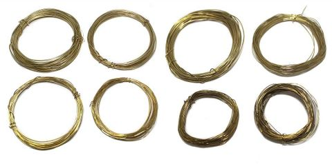 jewellery making Wire gold colour, pack of 8 pcs, size : 16, 18, 20, 22, 24, 26, 28 & 30 gauge thick, 5 mtrs each