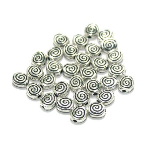100 Pcs. German Silver Beads Silver 6 mm