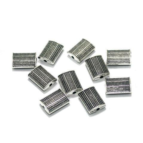 25 Pcs. German Silver Beads Silver 12x9 mm
